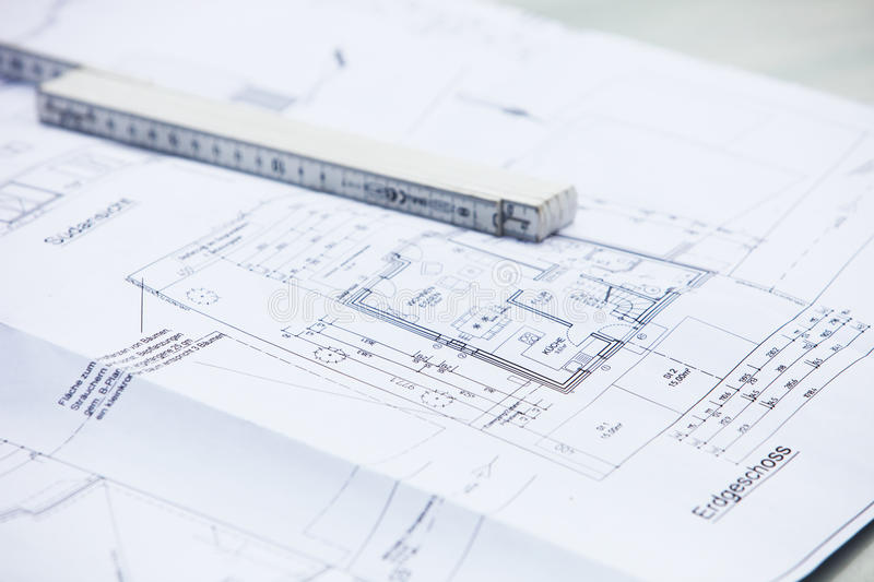 Download Architectural Drawings And Ruler Stock Image - Image: 25601435
