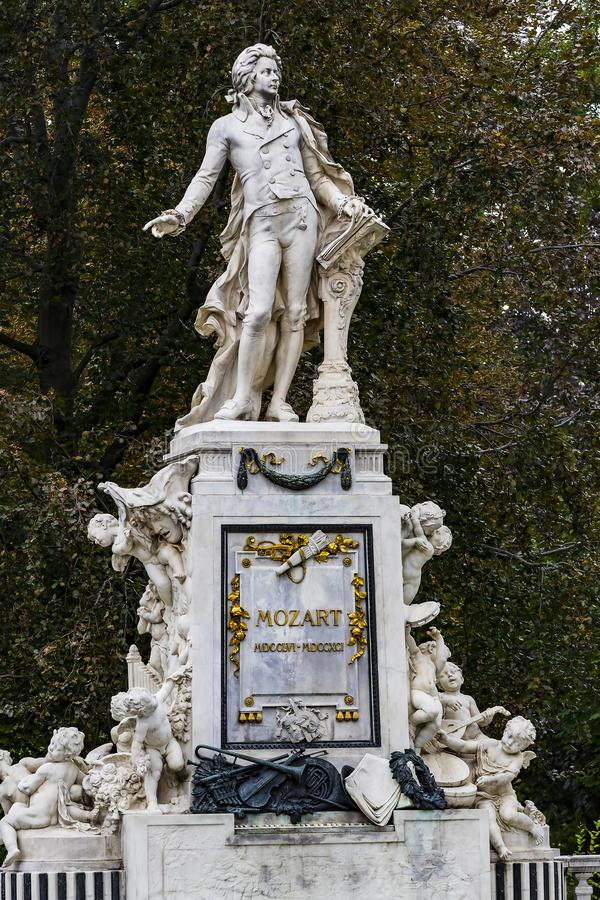 Architectural elements of the Mozart monument. Created in 1896 in Vienna in Austria royalty free stock image