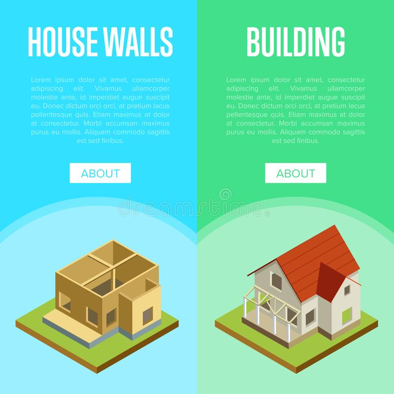 Architectural engineering isometric 3d concept. Construction of house walls, roof installation and siding isometric 3d vector illustration. Architectural vector illustration