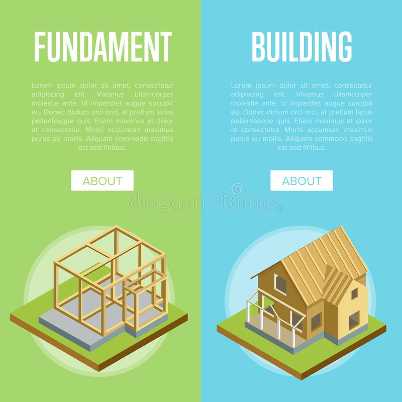 Architectural engineering isometric 3d concept. Foundation pouring, construction of walls, siding, roof installation isometric vector illustration stock illustration