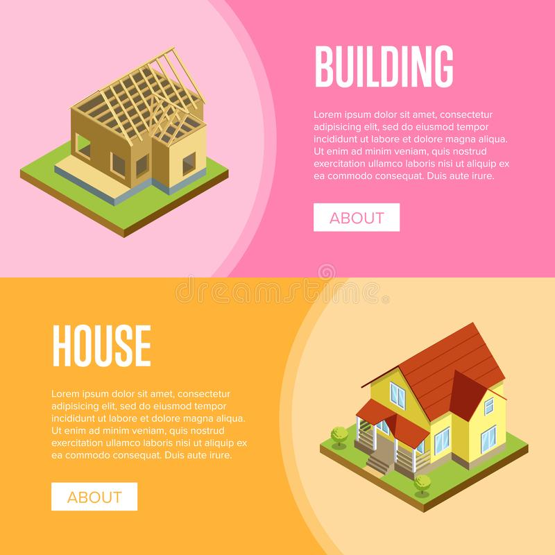 Architectural engineering isometric 3d concept. House framework, construction of walls, siding and roof installation isometric illustration. Architectural royalty free illustration