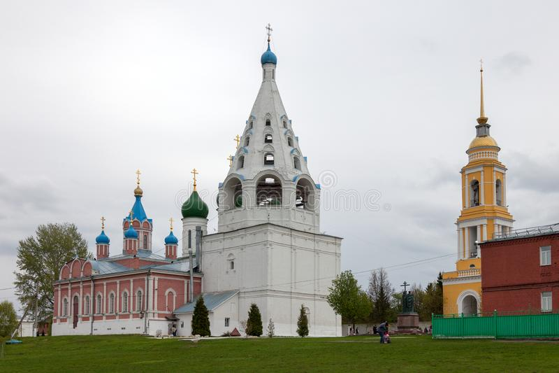 The architectural ensemble of the Cathedral Square in the Kolomna Kremlin. KOLOMNA, RUSSIAN FEDERATION - MAY 04, 2019:  The architectural ensemble of the stock photography