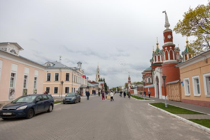 The architectural ensemble of the Cathedral Square in the Kolomna Kremlin. KOLOMNA, RUSSIAN FEDERATION - MAY 04, 2019:  The architectural ensemble of the stock photo