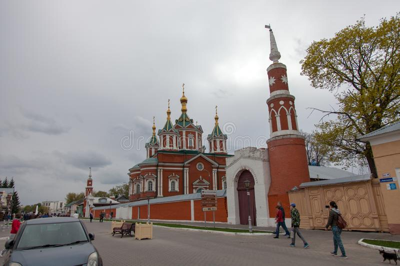 The architectural ensemble of the Cathedral Square in the Kolomna Kremlin. KOLOMNA, RUSSIAN FEDERATION - MAY 04, 2019:  The architectural ensemble of the royalty free stock images