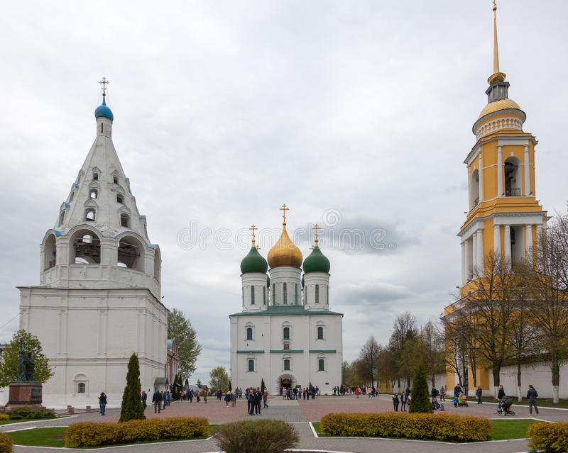 The architectural ensemble of the Cathedral Square in the Kolomna Kremlin. stock photo