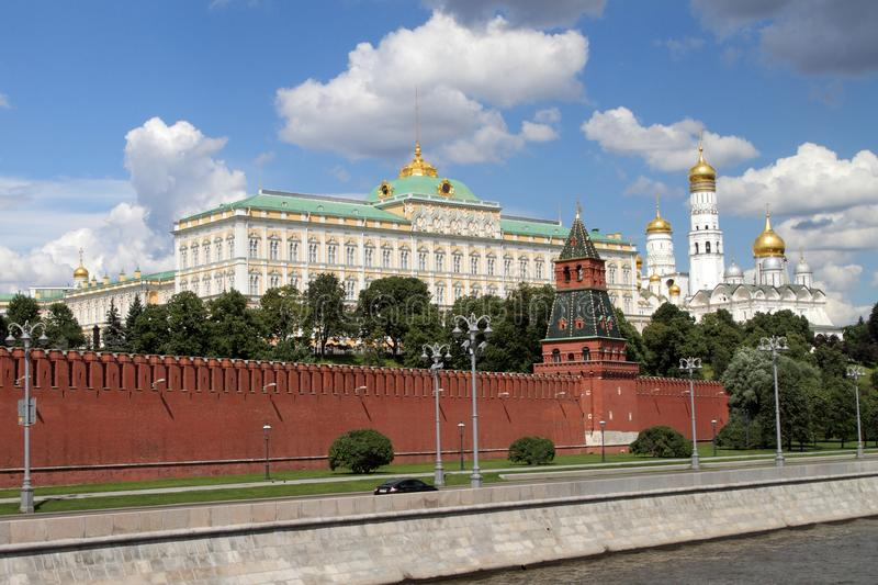 Architectural ensemble of the Moscow Kremlin and Sofia embankment. royalty free stock photos