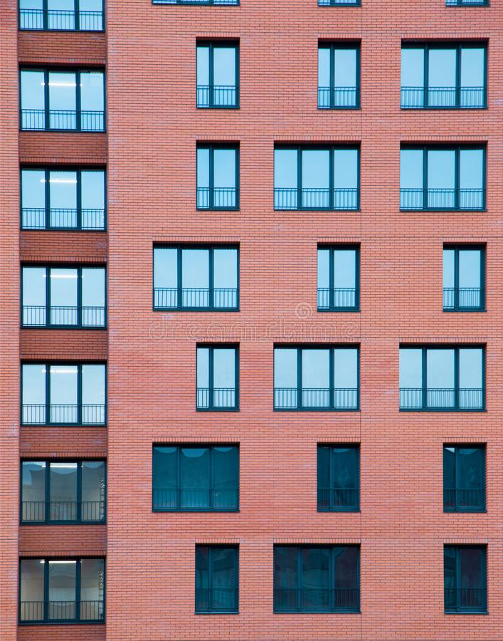 Free Architectural Exterior Detail Of Residential Apartment Building With Brick Facade Royalty Free Stock Images - 100414009
