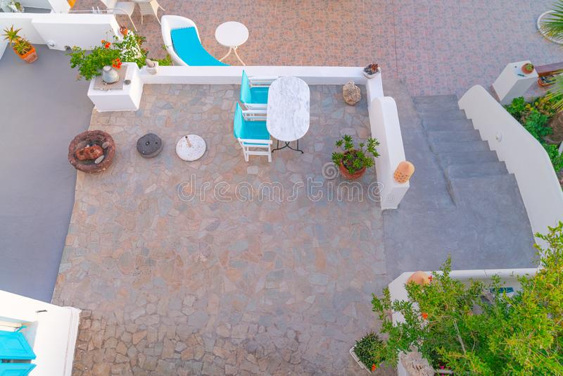 Architectural features from birdseye view. Architectural terrace features from birdseye view of typically Greek Island architecture royalty free stock photo