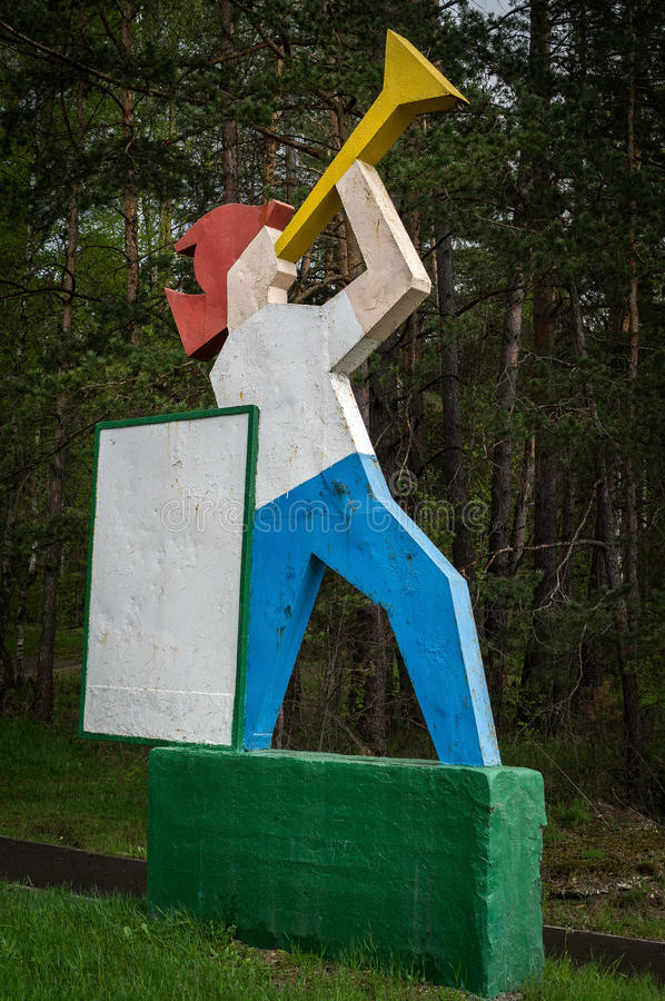 The architectural figure of the pioneer days of the Soviet Union in the Kaluga region in Russia. stock photo