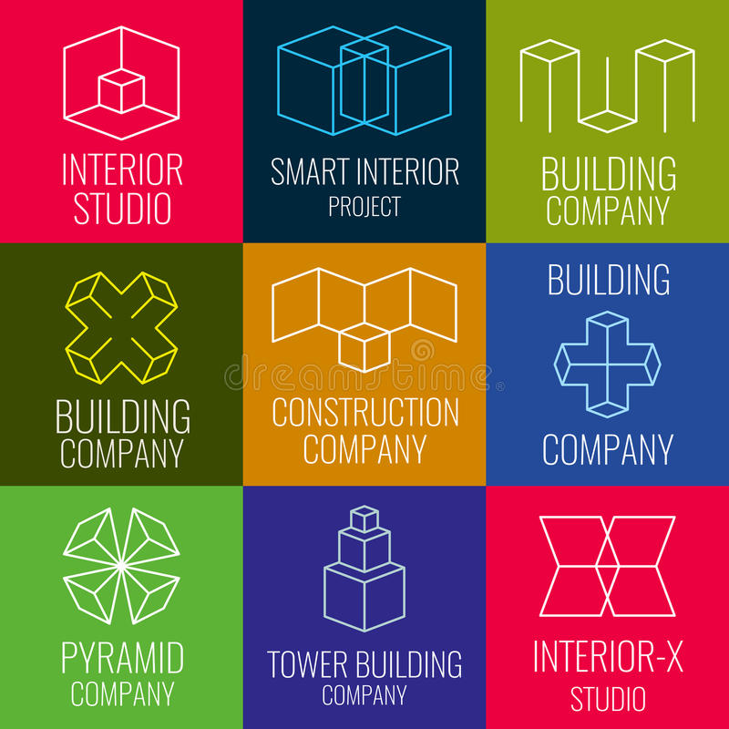 Architectural firm, interior design studios, construction company line vector logos with 3D isometric cubes structure. Set of logo for building company stock illustration