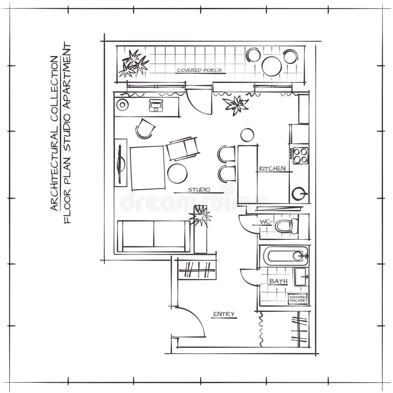 Download Architectural Floor Plan Stock Vector. Illustration Of  Illustration   68167329