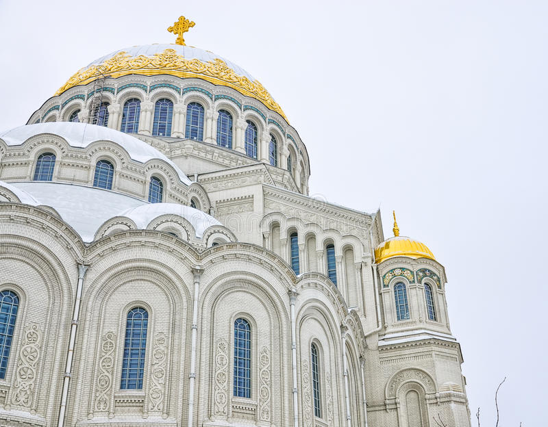 The architectural fragment of the Naval cathedral of Saint Nicholas in Kronstadt. Kronstadt, Russia. The architectural fragment of the Naval cathedral of Saint stock image