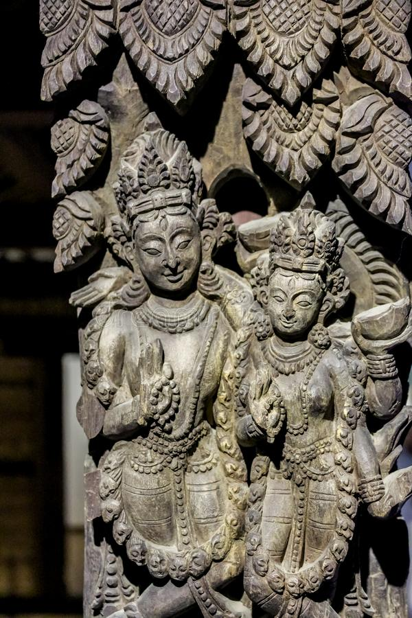 Architectural fragments displayed in Patan Museumi in Patan Darbar Square, Nepal. Asia stock photo