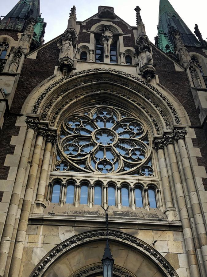 architectural fragments of St. Olha and St. Elizabeth Church, Lviv, Ukraine stock images