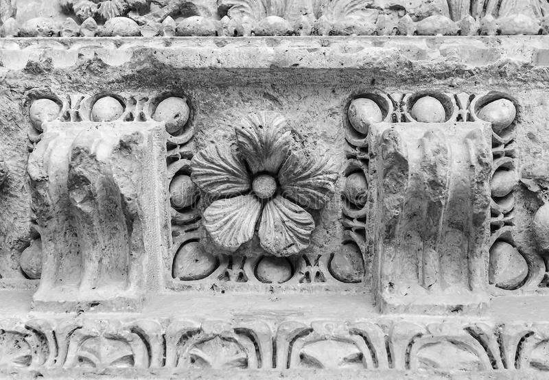 Architectural fretwork. Architectural details of the ancient edifice with fretwork royalty free stock photos