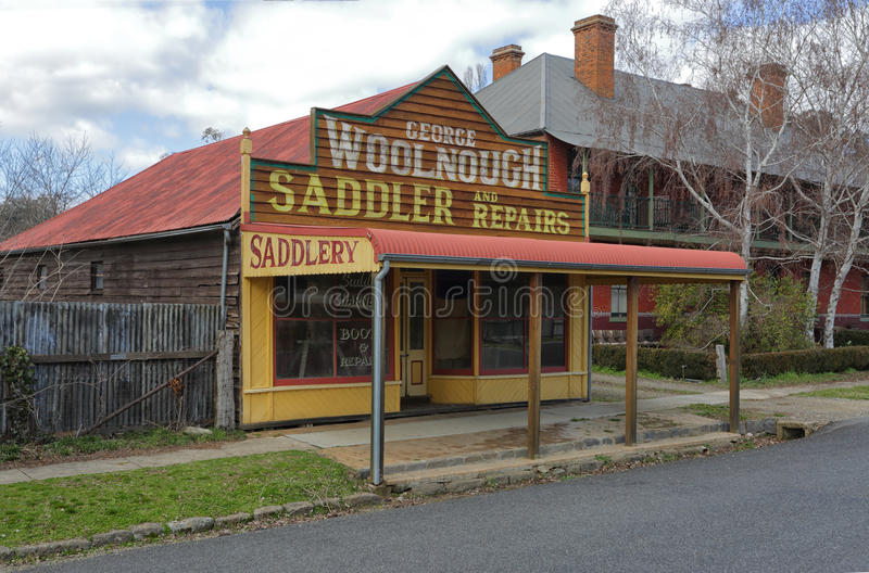 Architectural heritage rustic saddlery shop. CARCOAR, AUSTRALIA - AUGUST 3, 2015; Rustic old heritage architecture shop in Carcoar. The George Woolnough Saddler stock photography