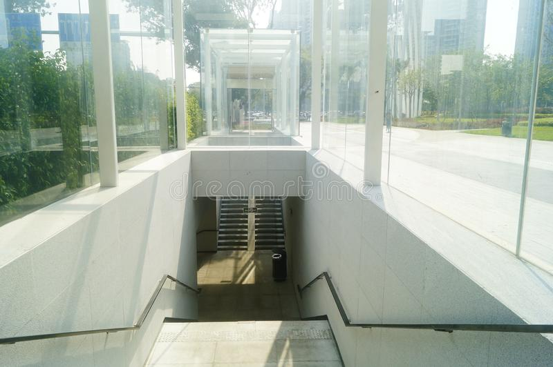 The architectural landscape of the underground passage. Above is the highway. In shenzhen, China stock images