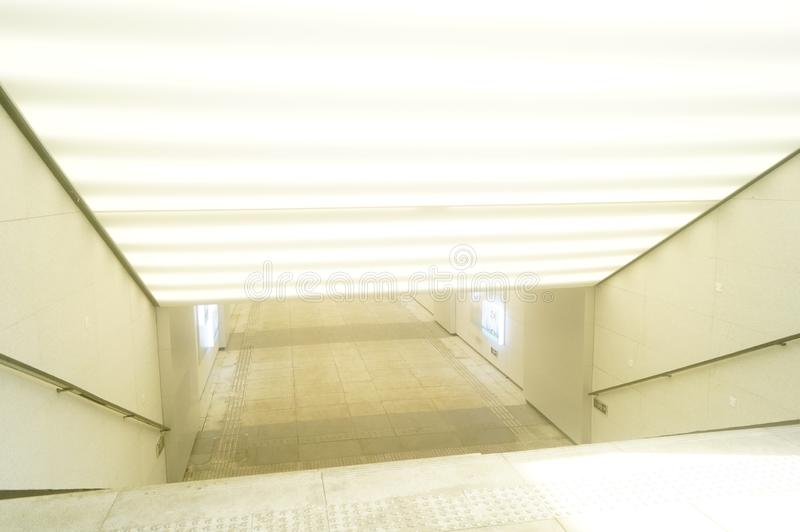 The architectural landscape of the underground passage. Above is the highway. In shenzhen, China royalty free stock image
