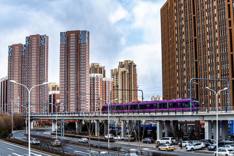 Architectural landscape of urban area in Changchun Economic and Technological Development Zone. China royalty free stock photos