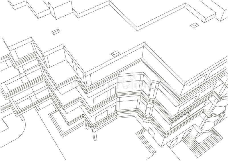 Architectural linear sketch of building. Architectural linear sketch modern multi story appartment building top view vector illustration