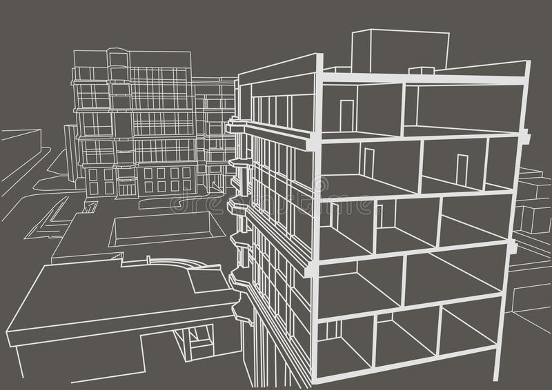 Architectural linear sketch multistory apartment building. Sectional drawing gray background royalty free illustration