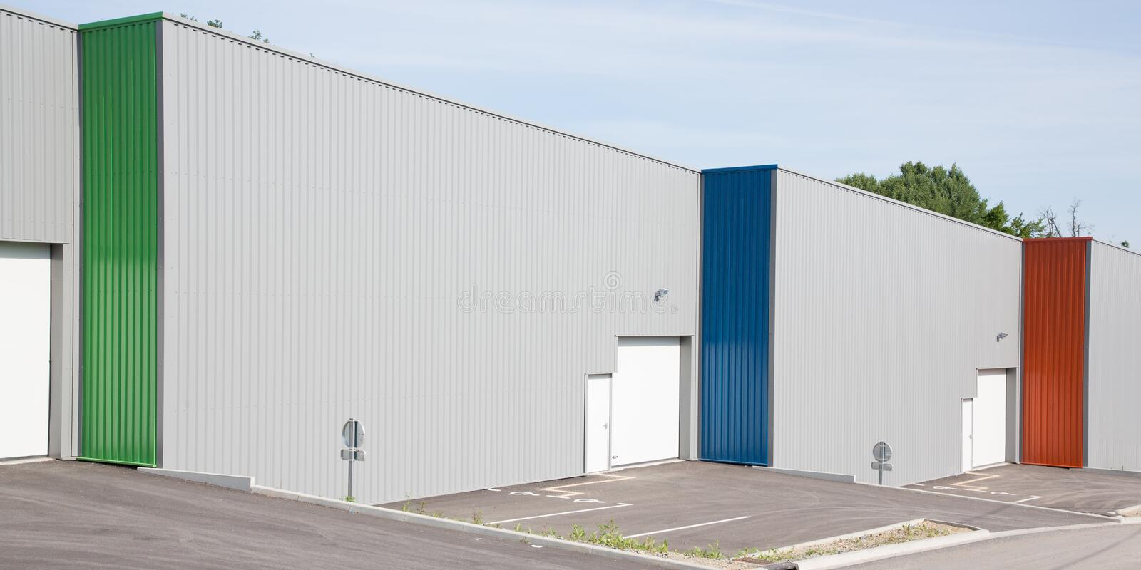 Architectural lines of an industrial colored building. Geometric architectural lines of an industrial colored building royalty free stock photography