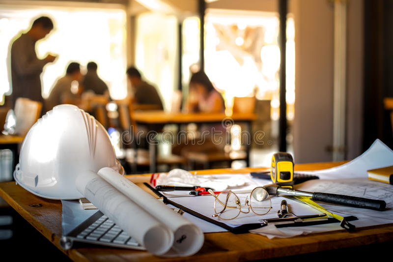 Architectural Office desk background construction project ideas stock images