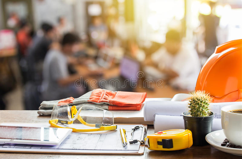 Architectural Office desk background construction project ideas stock photos