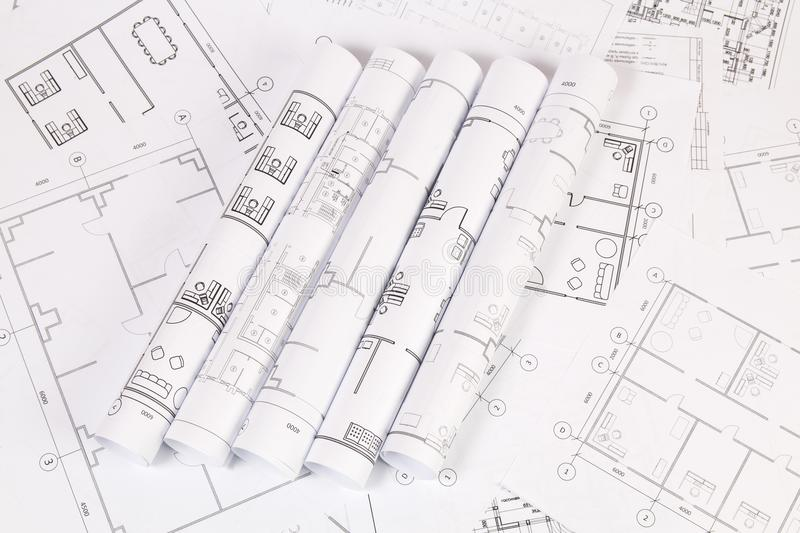 Architectural plan. Engineering house drawings and blueprints. stock image