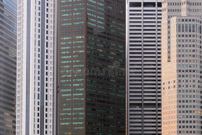 Skyscraper Pattern On Modern Business Building In Singapore royalty free stock photos