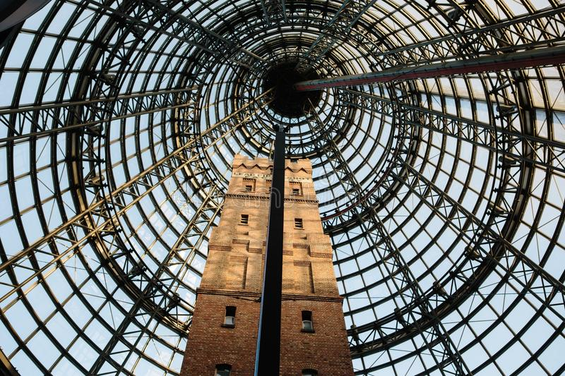 Architectural pattern. Tower at Melbourne Central Shopping mall. stock photos