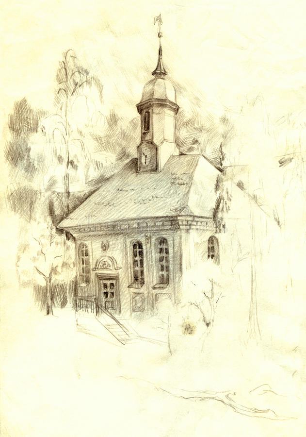 Download architectural pencil sketch the old church in the park stock illustration illustration of