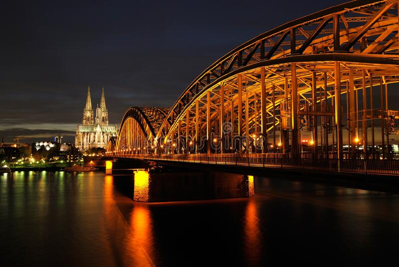 Architectural Photo of Bridge during Nighttime royalty free stock photo