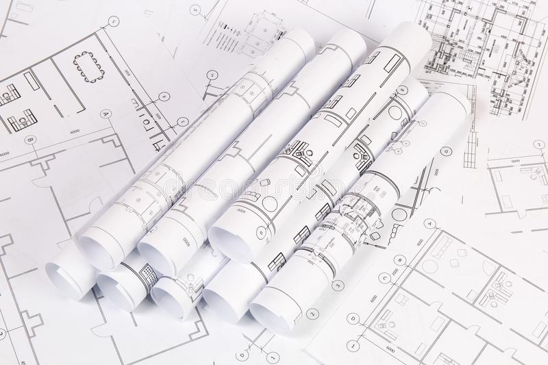 Architectural plan. Engineering house drawings and blueprints. royalty free stock photos
