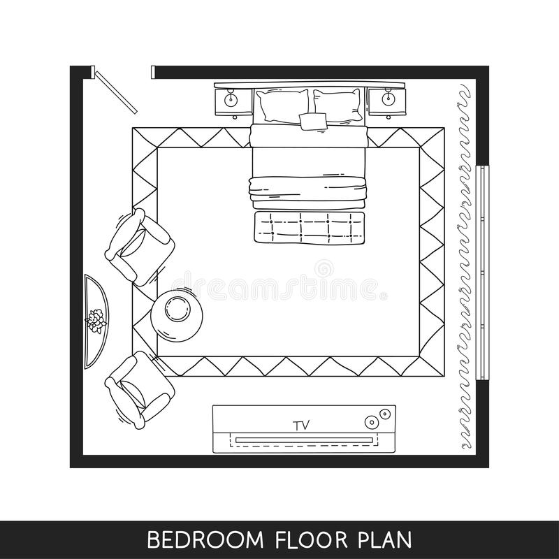 Architectural plan with furniture in top view stock vector bedroom with hand drawn furniture in top view vector illustration malvernweather Choice Image