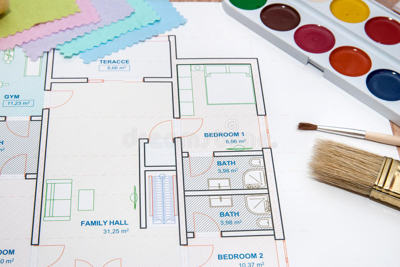 Perfect Download Architectural Plan Of House With Color Palette, Pencil And Fabric  Samples Stock Photo