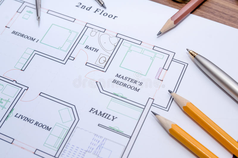 Download Architectural Plan House With Pen, Pencil Stock Photo   Image Of  Design, Hand