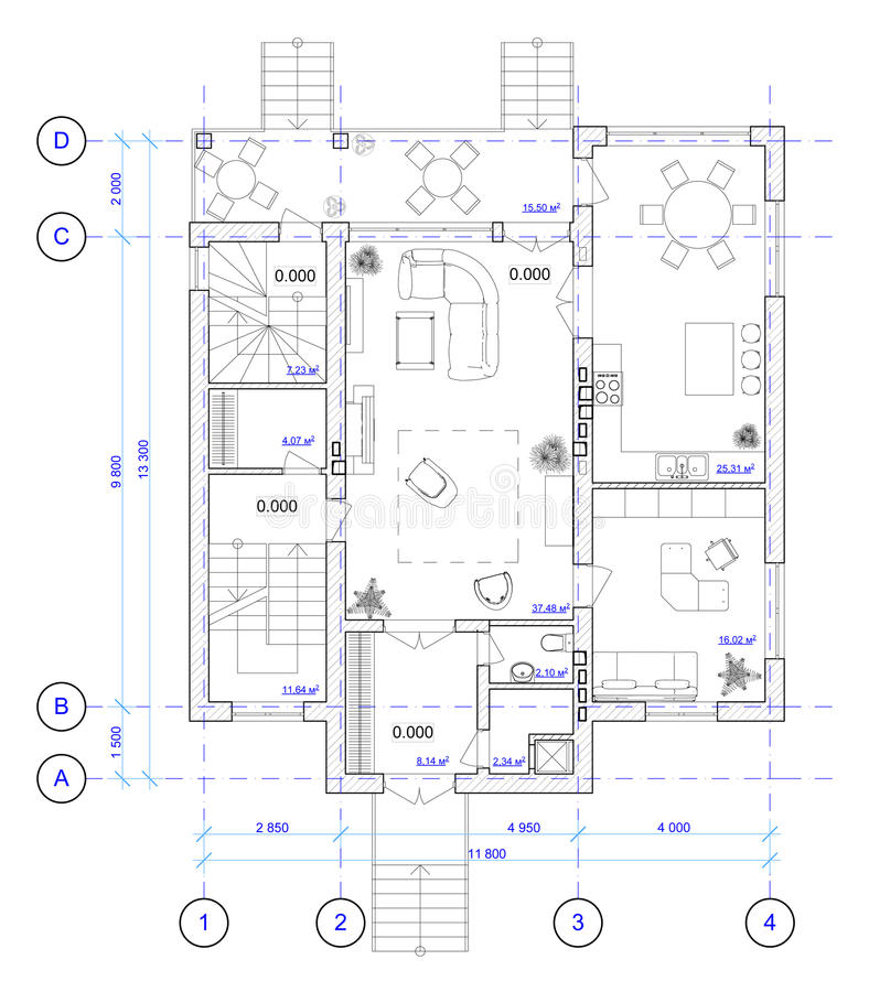 Free Architectural Plan Of 1 Floor Of House Stock Images - 22139744