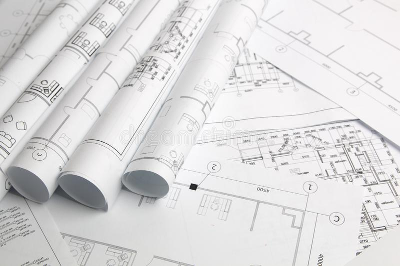 Architectural plan. Engineering house drawings and blueprints royalty free stock photos