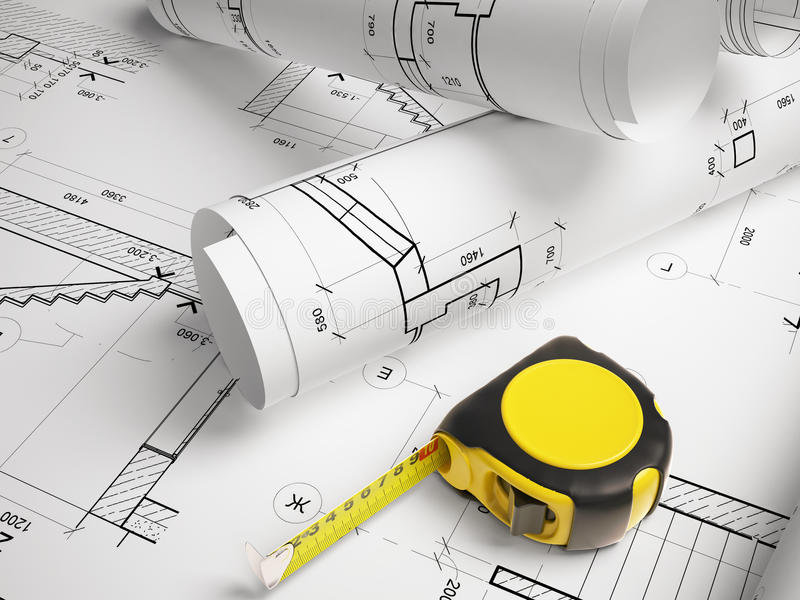 Architectural Plan With A Tape Measure Stock Illustration Illustration Of Interior Design
