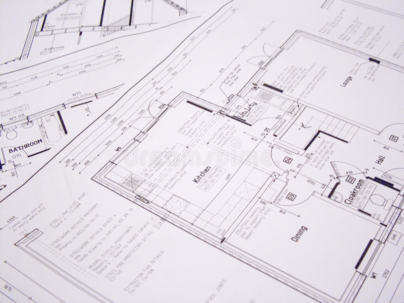 Architectural plans. A detailed image of a set of architectural plans stock photography