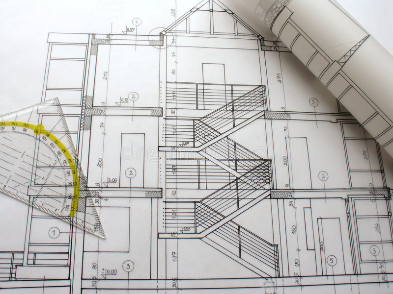 Architectural Plans Stock Image. Image Of Background, Designer