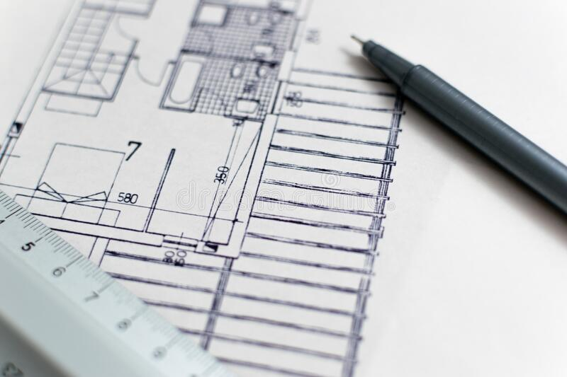 Architectural plans stock images