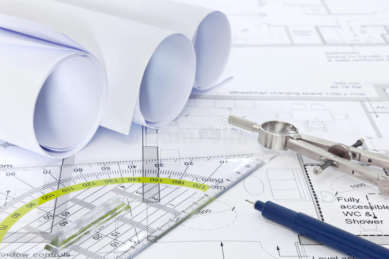 Architectural Plans With Drawing Equipment Stock Image - Image ... - architectural plans