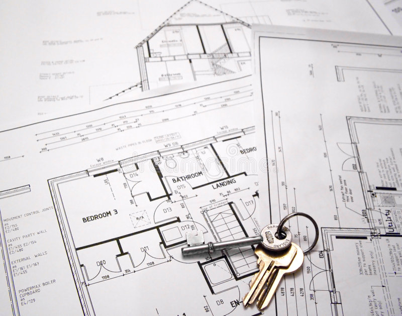Architectural plans with keys stock image