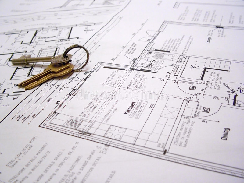 Architectural Plans With Keys Stock Photo