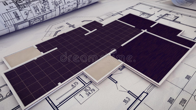 Architectural project, blueprints, blueprint rolls on plans. 3d rendering of Architectural project, blueprints, blueprint rolls on plans stock illustration