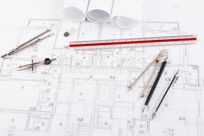 Architectural project engineering tools on table stock image download architectural project engineering tools on table stock image image of architectural malvernweather Image collections