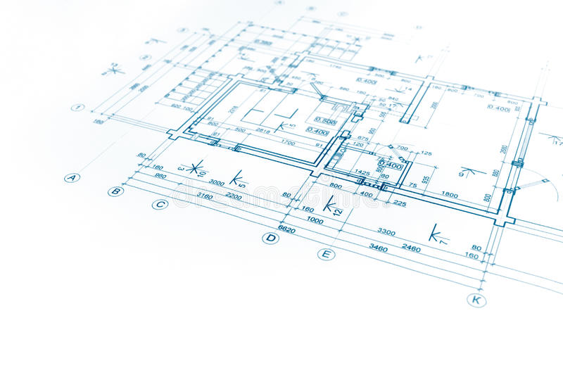 Architectural project, floor plan blueprint, construction plan, royalty free stock photos
