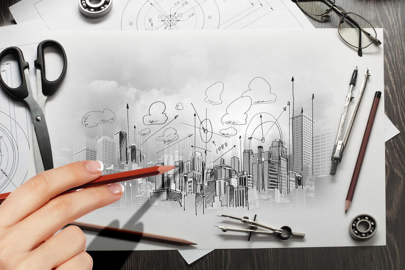 Download Architectural project stock photo. Image of detail, draft - 32884908